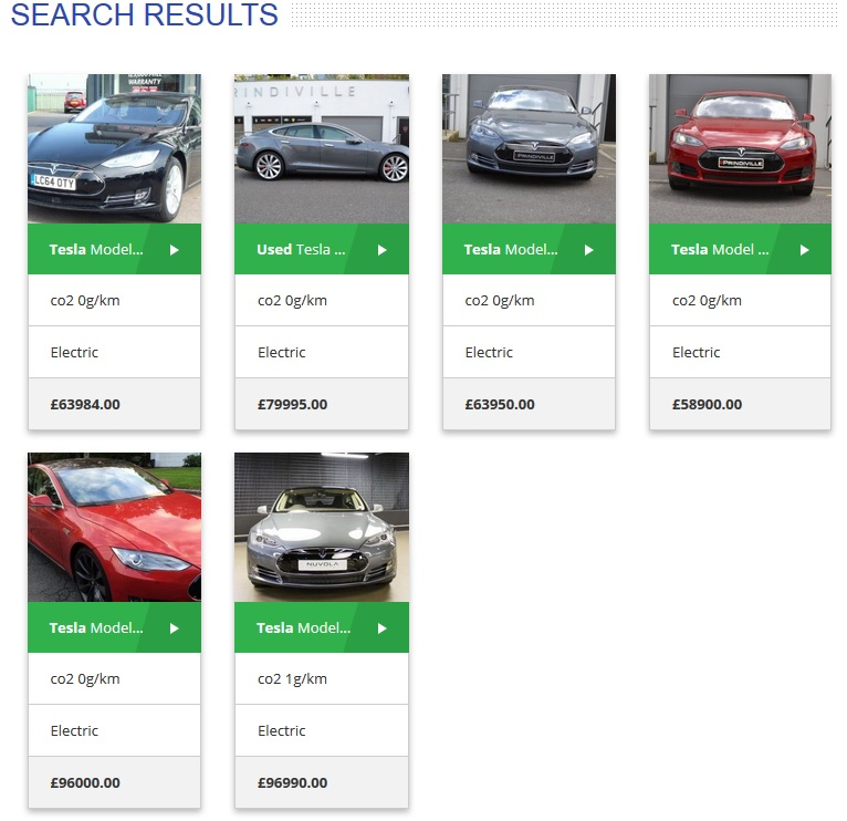 tesla model s for sale electric car search